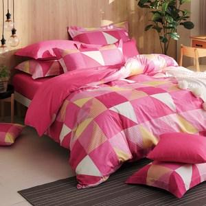 GOLDEN-TIME-質感生活-200織精梳棉兩用被床包組(粉-加大