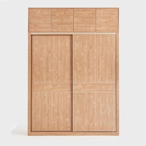 林氏木業北歐原木色1.6M滑門衣櫃 JO5D (附頂櫃)