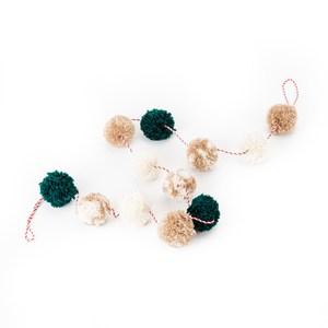毛線球串吊飾 綠色