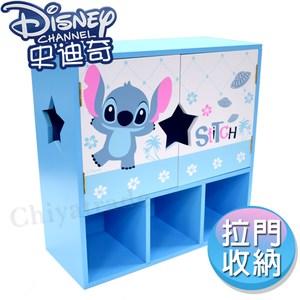 【迪士尼Disney】史迪奇Q版仲夏風 大容量拉門收納櫃 置物櫃 收納櫃