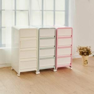 【H&R安室家】韓系馬卡龍四層整理箱/收納箱粉色