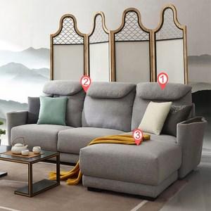 林氏木業現代曲線置物扶手可拆洗左L三人布沙發+腳踏(附抱枕)RAA1K-淺灰色