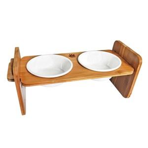 JohoE嚴選 職人木匠可調式平面寵物餐桌附瓷碗-雙碗
