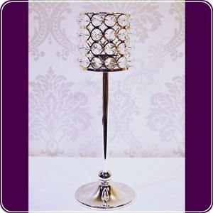 HONEY COMB 鋅合金水晶圓柱高腳燭台 CA15