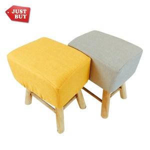 [特價]【JUSTBUY】北歐實木方形布質椅凳(套可拆洗)奶茶色 化妝椅 會客椅 穿鞋椅 腳凳 矮