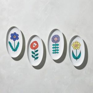 【有種創意】日本晴九谷燒 - 花語橢圓小盤(4件組)