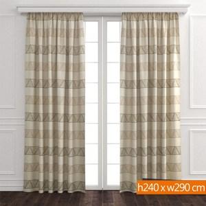 三角緹花雙層遮光窗簾 寬290x高240cm