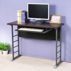 Homelike 查理100x40工作桌-加厚桌面(附鍵盤架)胡桃色桌面/白色腳