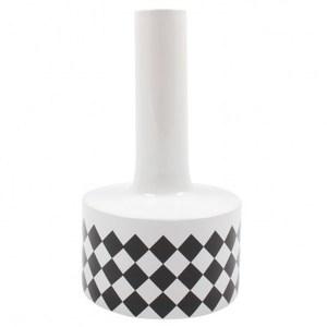 時尚幾何線條陶瓷花器-黑白菱格 31cm