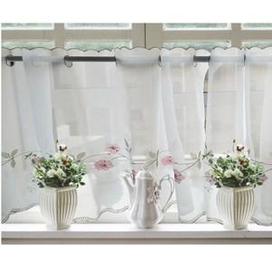 【三房兩廳】刺繡立體太陽花窗紗咖啡簾/窗簾/短簾/門簾(粉雛菊)