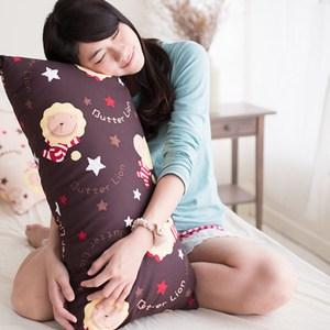 【奶油獅】版授權 台灣製造-搖滾星星可拆洗長型抱枕(咖啡)