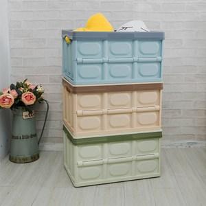 【H&R安室家】日系暖彩萬用摺疊收納箱3入56L藍x3