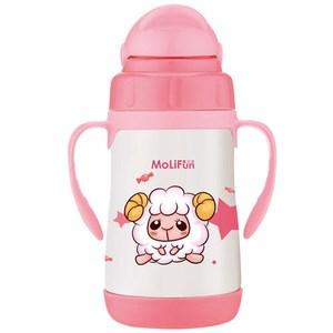 MoliFun魔力坊 不鏽鋼真空兒童吸管杯/學習杯260ml 寶貝羊