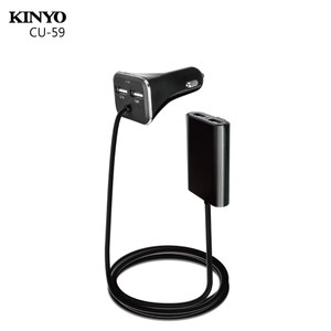 KINYO背夾式USB 4孔車充 CU-59