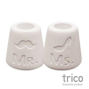 日本Trico 幸福點點名珪藻土牙刷架(Mr+Ms)