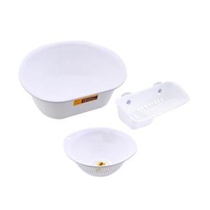 (組)Richell  洗滌萬用三件組-瀝水籃,洗滌盆,菜瓜布架(白)