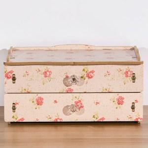 【佶之屋】木質DIY雙層抽屜飾品小物收納盒粉花