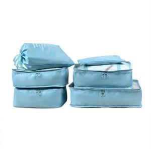 PUSH!旅遊用品旅行收納袋衣物收納袋(6件套雅緻型)天藍色S55-1天藍色