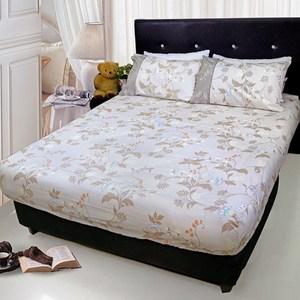 【FITNESS】精梳純棉雙人床包+枕套三件組- 帕帝娜(卡其色)