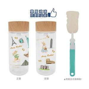 安妮兔 雙層木紋玻璃瓶330ml-2入 附海綿刷 016P-A123