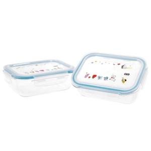 BT21玻璃保鮮盒650ml兩件組附提袋