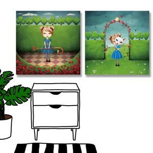 【24mama掛畫】二聯式 油畫布 無框畫 40x40cm-女孩仙境油畫布無時鐘