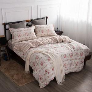 【夢工場】紅袖添香精梳棉薄被套床包組-加大