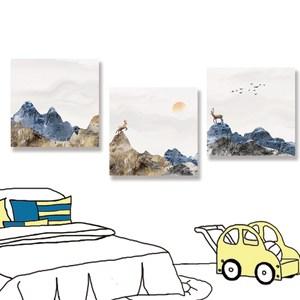 【24mama 掛畫】三聯式 油畫布 無框畫 30x30cm-麋鹿意境無時鐘