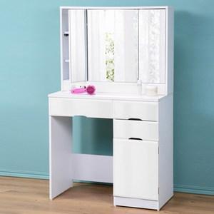 《C&B》樂庭安心豪華三面鏡化妝桌白色
