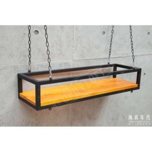 LOFT工業風 中懸吊 原木 鐵架【TC-8025】W80 x D25 x H17cm