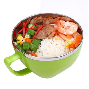 【PUSH!餐具】防燙防摔加厚304不鏽鋼泡麵碗飯(大號綠色)E78