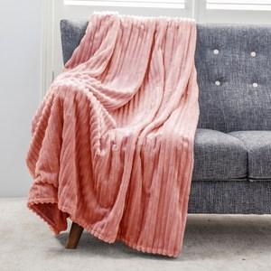 可機洗絲絨雙面毯 莓果粉 180x150cm
