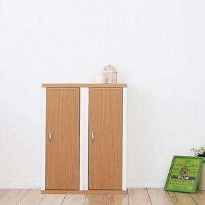 兩入一組【Accessco】日系雙色三格附門厚板收納書櫃(原木白)