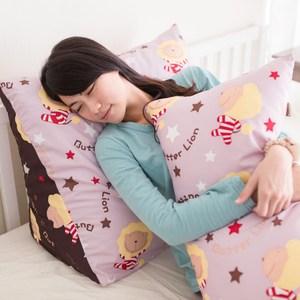 【奶油獅】正版授權-台灣製造-搖滾星星三角靠墊-淡紫(一入)