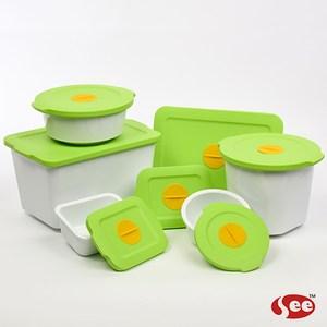 【S.E.E.】Breere會呼吸的保鮮盒(七件組)-蘋果綠
