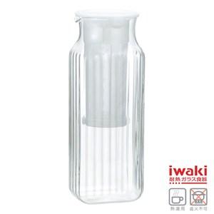 【iwaki】方形耐耐熱玻璃冷水壺 1L(濾茶網白)