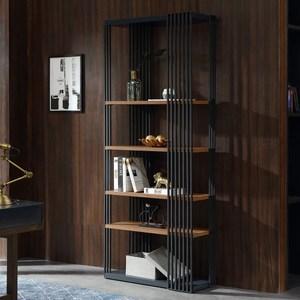 林氏木業簡約內斂儲物書架收納展示架DY1X-黑檀木色+灰色