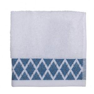 HOLA home 菱格中空紗方巾 水藍色 33x33cm