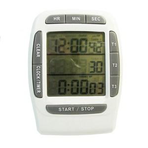 【PUSH!】三組同步顯示倒正數計時器時鐘碼錶(白灰色)B18
