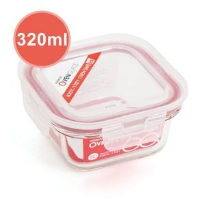 韓國KOMAX 耐熱玻璃保鮮盒-方型(320ml)