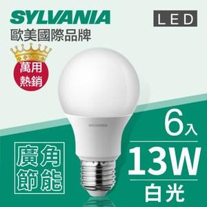 【喜萬年】 LED E27 13W 燈泡 白光(6500K)-6入組
