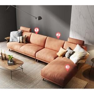 林氏木業北歐輕奢荷蘭絨移動頭枕L型四人布沙發(附抱枕)RAV1K-銅譚棕