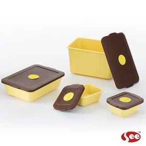【S.E.E.】Breere會呼吸的保鮮盒(四件組/方形)-馬卡龍黃