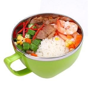 【PUSH!餐具】防燙防摔加厚304不鏽鋼泡麵碗(中號綠色)E63