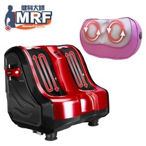 MRF健身大師 – 溫熱版纖美腿機+12顆溫熱按摩頭枕-超跑紅美腿機紅+按摩枕紫