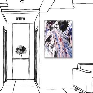 24mama掛畫 單聯式 藝術抽象 油畫風無框畫 60X80cm-游移