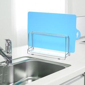 日本LEC不鏽鋼雙層砧板架+可彎曲薄砧板(藍色)1片