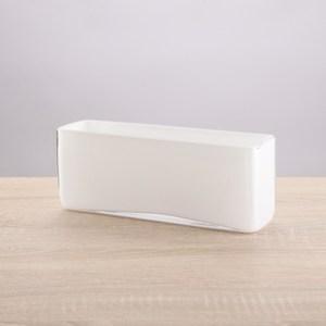 晶釉矮長型玻璃花器10cm 白