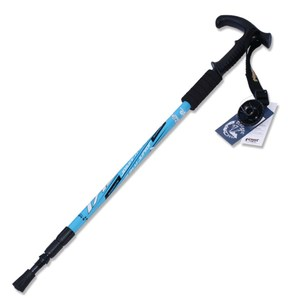 【PUSH! 戶外休閒登山用品】鋁合金鎢鋼杖尖調整式T型登山杖(黃色)P70-2