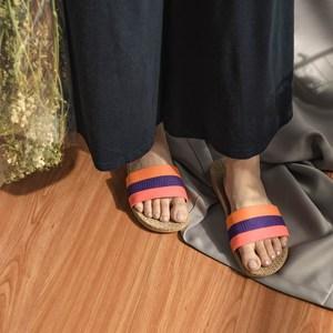 樂嫚妮 亞麻拖鞋 室內外居家拖鞋-女亞麻拖粉紫橙39-40